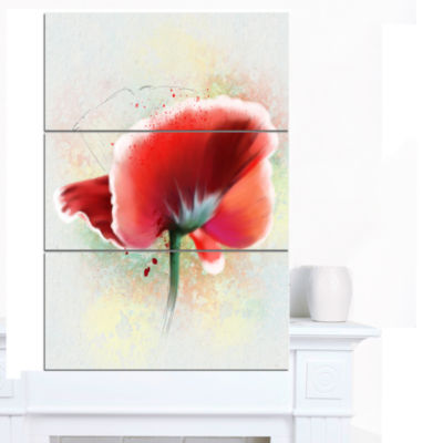 Designart Beautiful Red Watercolor Poppy Flowers Canvas Wall Artwork  3 Panels