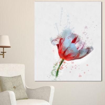 Designart Beautiful Red White Flower Sketch FloralCanvas Art Print