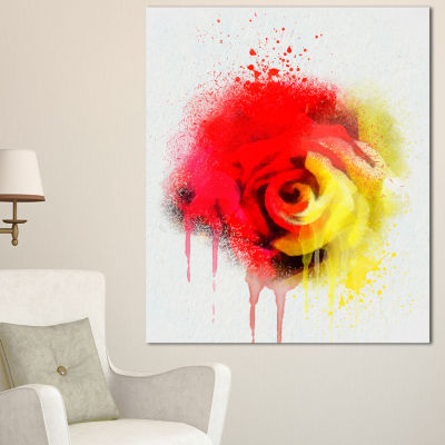 Designart Beautiful Red Yellow Rose Watercolor Flowers Canvas Wall Artwork