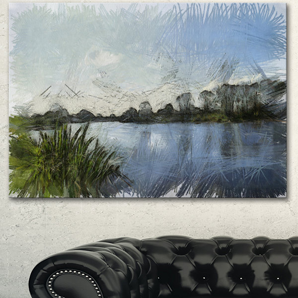 Designart Beautiful River Bank In Summer Large Landscape Canvas Art 3 Panels