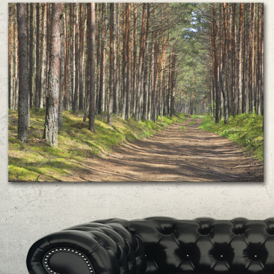 Designart Beautiful Road Through Thick Woods Modern Forest Canvas Art