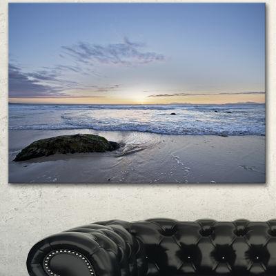 Designart Beautiful Rocky Seashore In Blue LargeSeashore Canvas Art Print 3 Panels