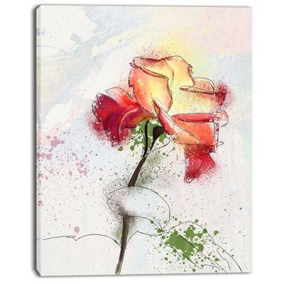 Designart Beautiful Rose Illustration Drawing Floral Canvas Art Print