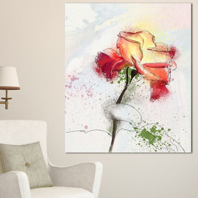 Designart Beautiful Rose Illustration Drawing Floral Canvas Art Print 3 Panels