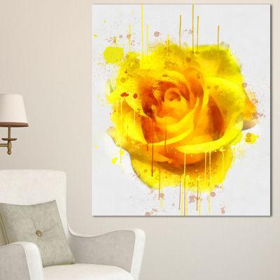 Designart Beautiful Rose In Yellow Watercolor Floral Canvas Art Print 3 Panels