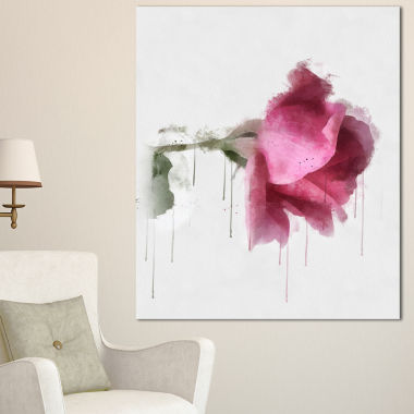 Designart Beautiful Rose Watercolor Drawing FloralCanvas Art Print
