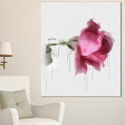 Designart Beautiful Rose Watercolor Drawing FloralCanvas Art Print 3 Panels