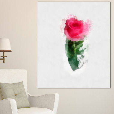 Designart Beautiful Rose With Leaves Drawing Floral Canvas Art Print