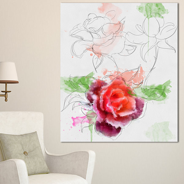 Designart Beautiful Rose With Rose Sketches FloralCanvas Art Print 3 Panels