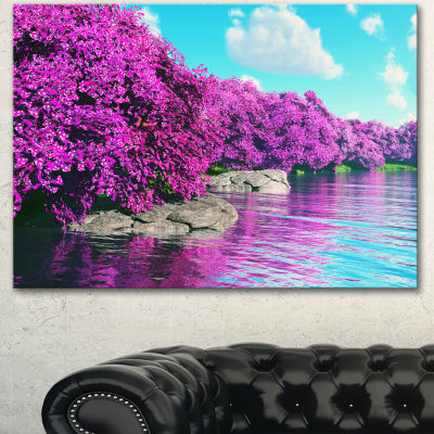 Design Art Beautiful Row Of Cherry Blossoms Landscape Canvas Art Print