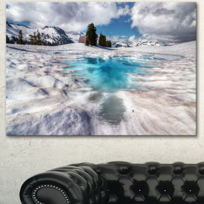 Designart Beautiful Snow Covered Lake Large Landscape Canvas Art Print