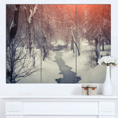 Designart Beautiful Snowfall In City Park Landscape Canvas Art Print 3 Panels
