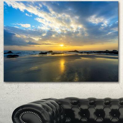 Designart Beautiful Sunrise And Seashore Large Seashore Canvas Wall Art 3 Panels