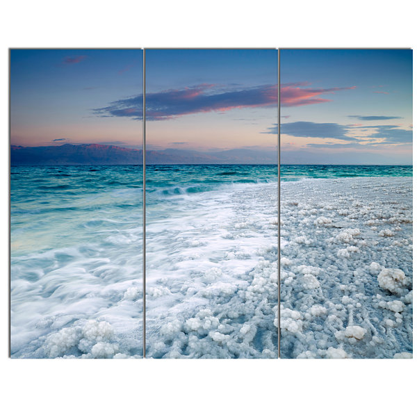 Design Art Beautiful Sunrise At Dead Sea SeashoreCanvas Art Print 3 Panels