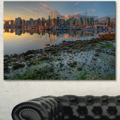 Designart Beautiful Sunrise At Vancouver DowntownSeashore Canvas Art Print 3 Panels