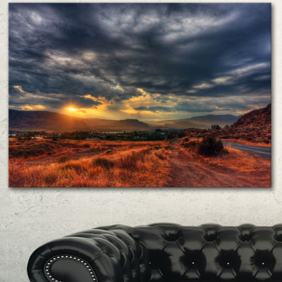 Designart Beautiful Sunrise In Osoyoos Extra LargeLandscape Canvas Art Print