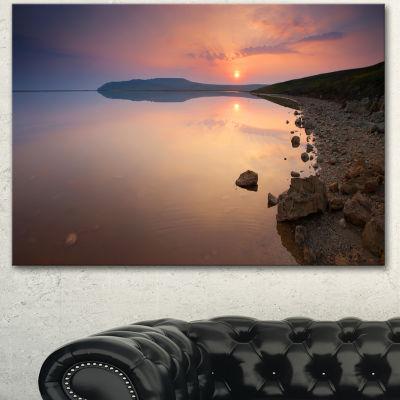 Designart Beautiful Sunrise Over Tranquil Sea Seashore Canvas Art Print 3 Panels