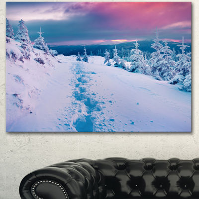 Designart Beautiful Sunrise Over Winter MountainsLarge Landscape Canvas Art Print 3 Panels