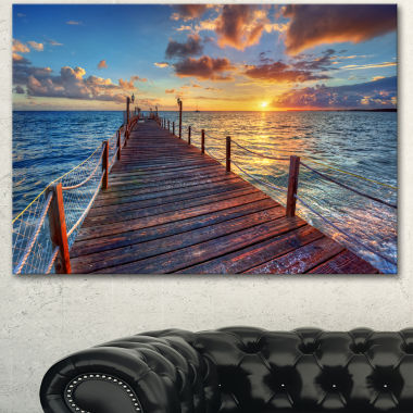 Design Art Beautiful Sunset Over Sea Pier Modern Canvas Art Print