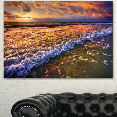 Designart Beautiful Sunset With White Waters Seashore Canvas Art Print 3 Panels