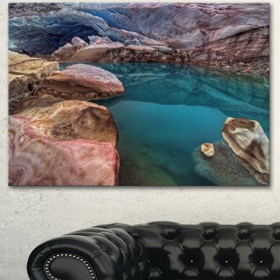 Designart Beautiful Turquoise Melt Pool LandscapeCanvas Art Print