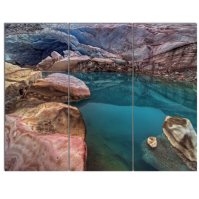 Designart Beautiful Turquoise Melt Pool LandscapeCanvas Art Print  3 Panels