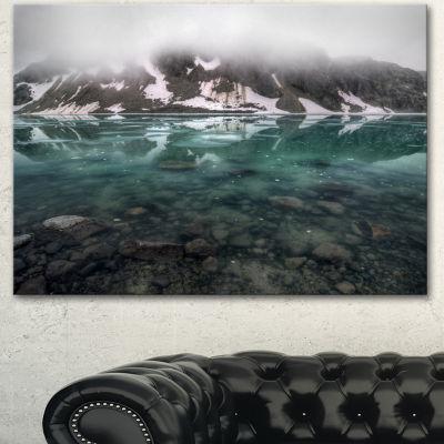 Designart Beautiful Turquoise Mountain Lake LargeLandscape Canvas Art