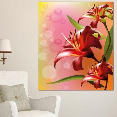 Designart Beautiful Vector Flower On Pink FlowersCanvas Wall Artwork