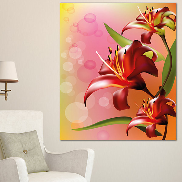 Design Art Beautiful Vector Flower On Pink FlowersCanvas Wall Artwork 3 Panels