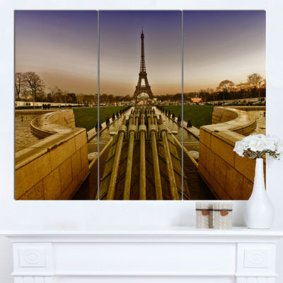 Designart Beautiful View Of Paris Eiffel Tower Large Landscape Canvas Art Print 3 Panels