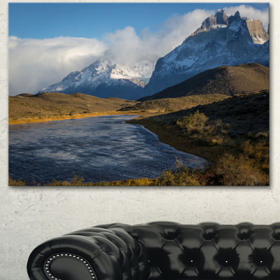 Designart Beautiful View Of Torres Del Paine LargeBeach Canvas Wall Art 3 Panels