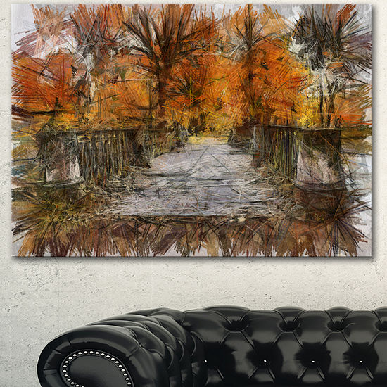 Designart Beautiful Watercolor Autumn Forest Landscape Canvas Wall Art