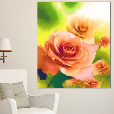 Designart Beautiful Watercolor Roses On Green Flower Artwork On Canvas