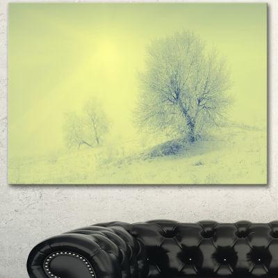 Designart Beautiful Winter Snow Valley Large Landscape Canvas Art 3 Panels