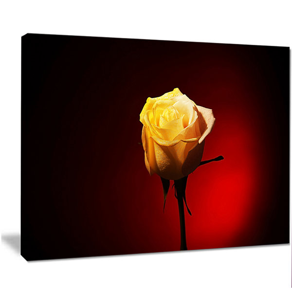Designart Beautiful Yellow Colored Rose Large Floral Canvas Art Print
