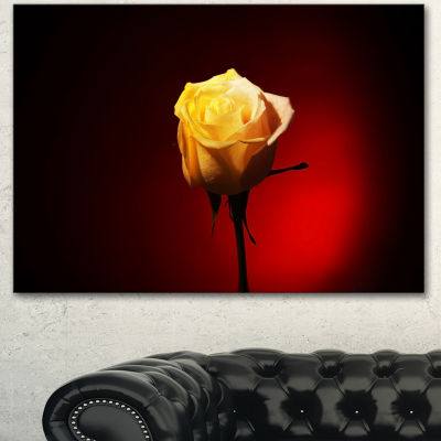 Designart Beautiful Yellow Colored Rose Large Floral Canvas Art Print 3 Panels