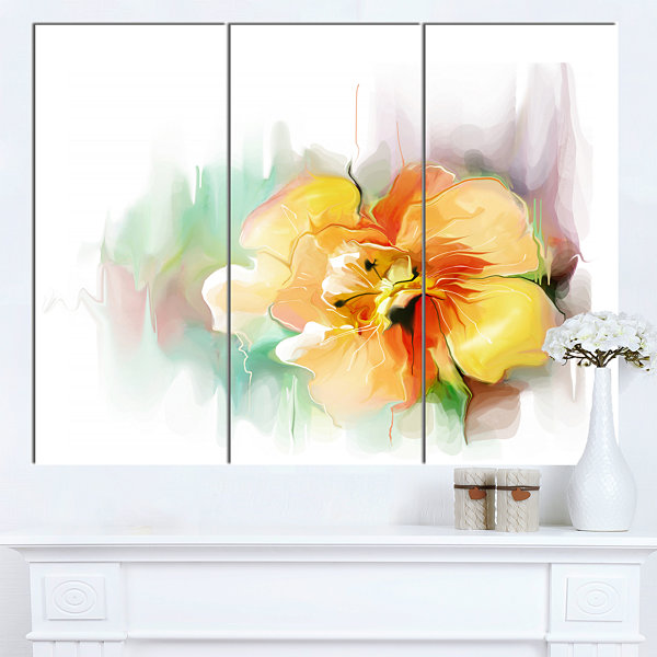 Designart Beautiful Yellow Flower Drawing Extra Large Floral Wall Art 3 Panels