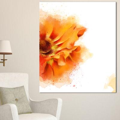 Design Art Beautiful Yellow Flower Watercolor Flowers Canvas Wall Artwork