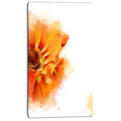 Designart Beautiful Yellow Flower Watercolor Flowers Canvas Wall Artwork