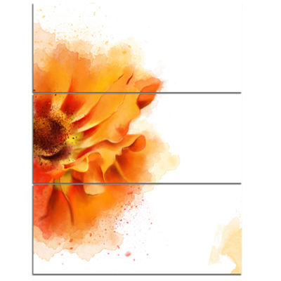 Designart Beautiful Yellow Flower Watercolor Flowers Canvas Wall Artwork 3 Panels