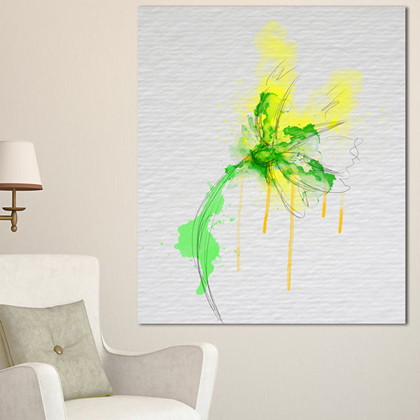 Designart Beautiful Yellow Green Flower Sketch Floral Canvas Art Print