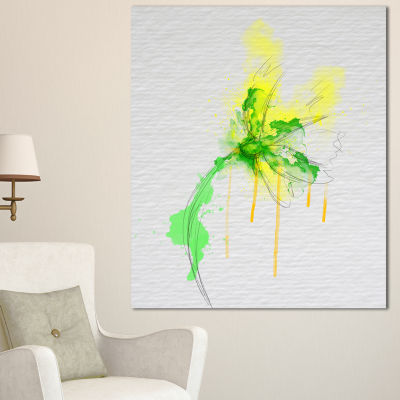 Designart Beautiful Yellow Green Flower Sketch Floral Canvas Art Print 3 Panels