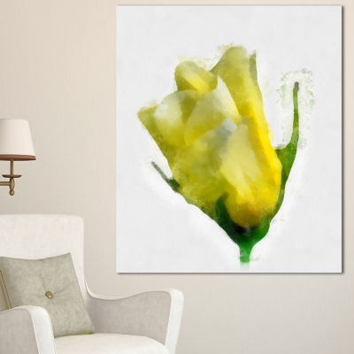 Designart Beautiful Yellow Rose Watercolor FloralCanvas Art Print