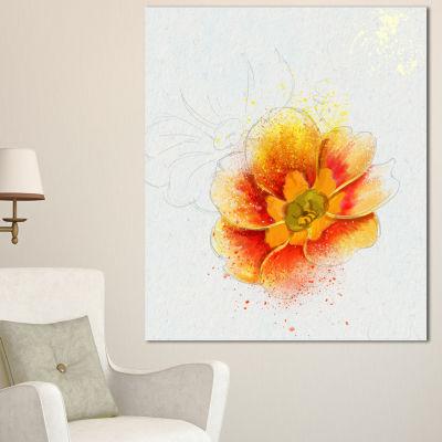 Designart Beautiful Yellow Watercolor Flower Floral Canvas Art Print