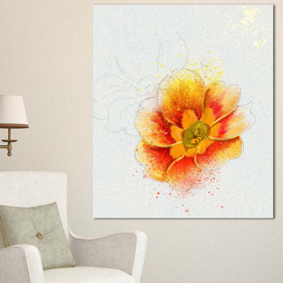 Designart Beautiful Yellow Watercolor Flower Floral Canvas Art Print