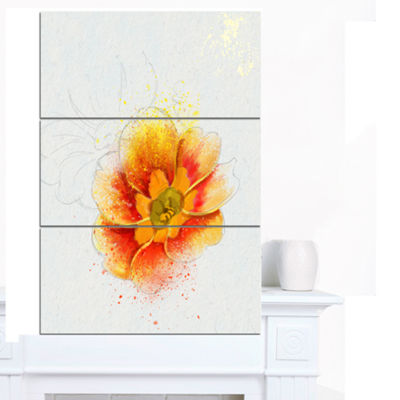 Designart Beautiful Yellow Watercolor Flower Floral Canvas Art Print 3 Panels