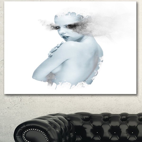 Designart Beautiful Young Woman Double Exposure Portrait Canvas Art Print