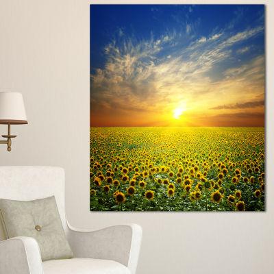 Designart Beauty Sunset Over Sunflowers Field Floral Canvas Art Print