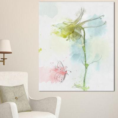 Designart Bellflower Sketch And Butterfly FloralCanvas Art Print