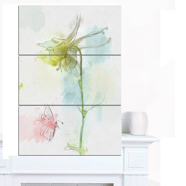 Designart Bellflower Sketch And Butterfly FloralCanvas Art Print 3 Panels